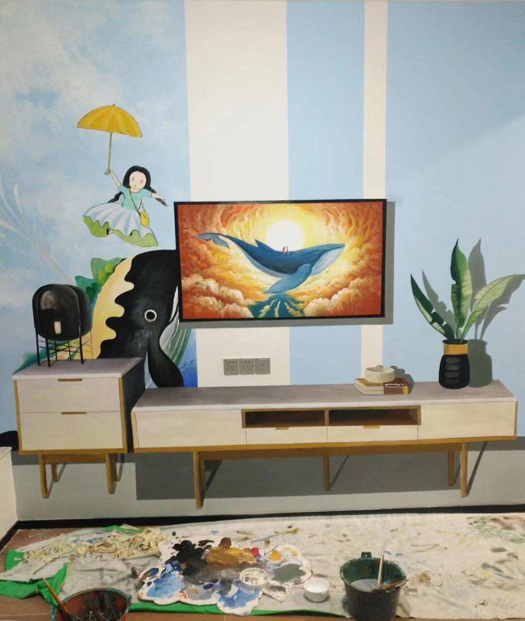 广州室内手绘墙画_样板房墙绘 样板间彩绘 清水样板间彩绘|其他|墙绘/立体画|壹家 ...