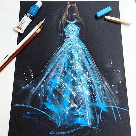 米兰国际时尚设计学院学员服装手绘作品