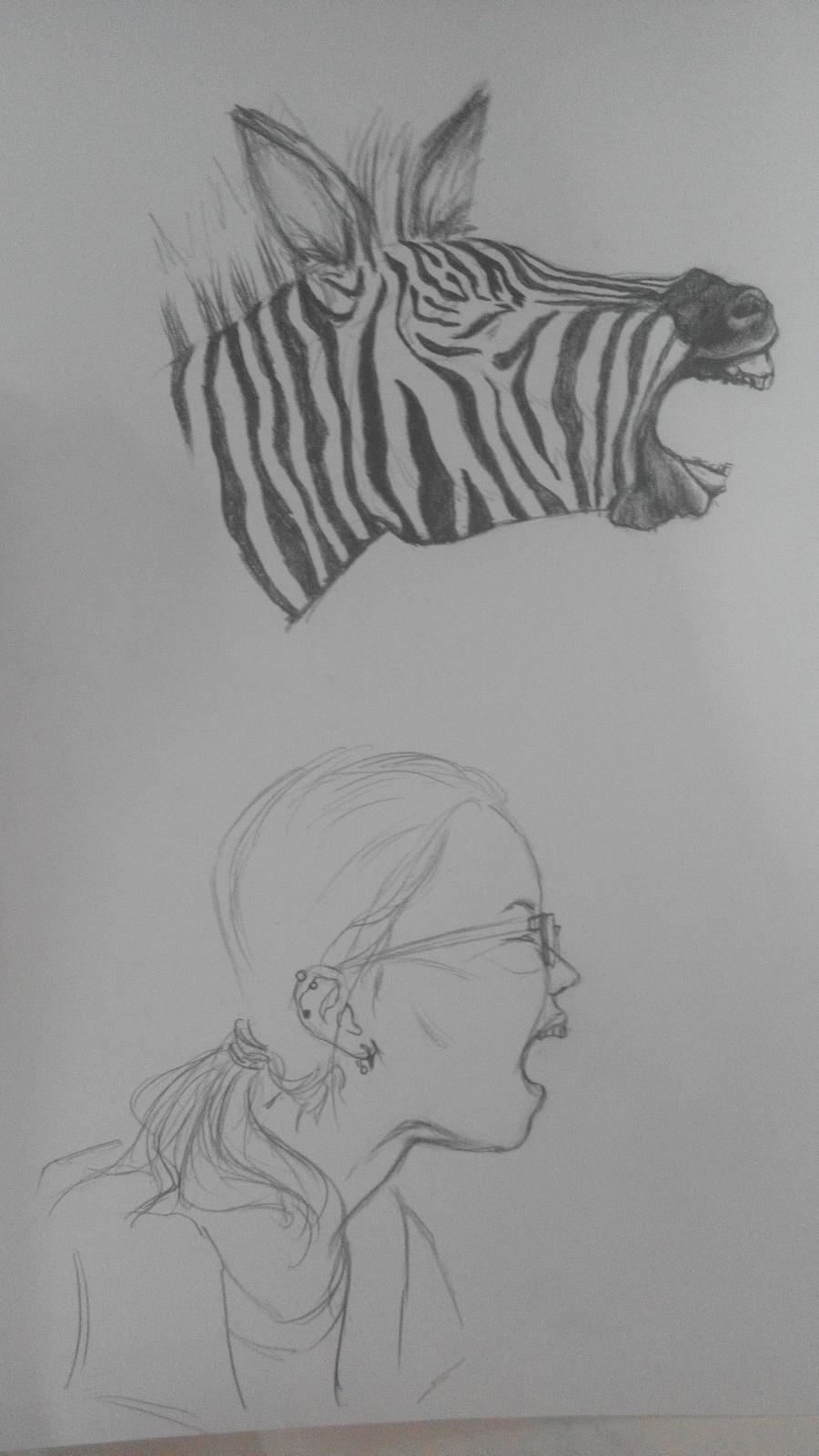 手绘动物拟人化的自画像