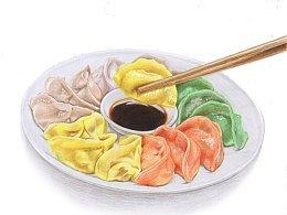 【驴大萌彩铅教程219】手绘五福饺子 年夜饭系列