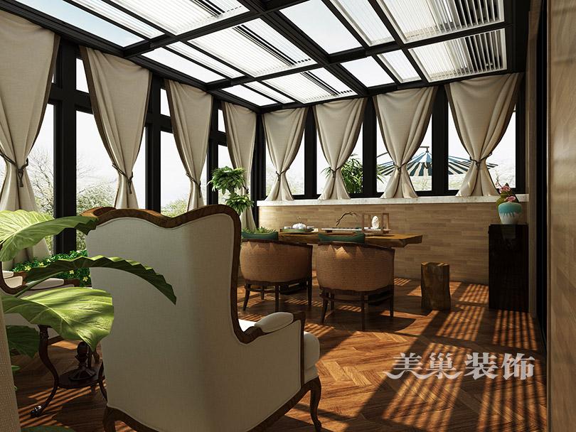 名门紫园660平美式乡村装修效果图——顶楼阳光房图片