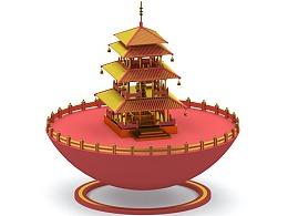 #C4D#中国古代建筑+3D视频H5交互制作