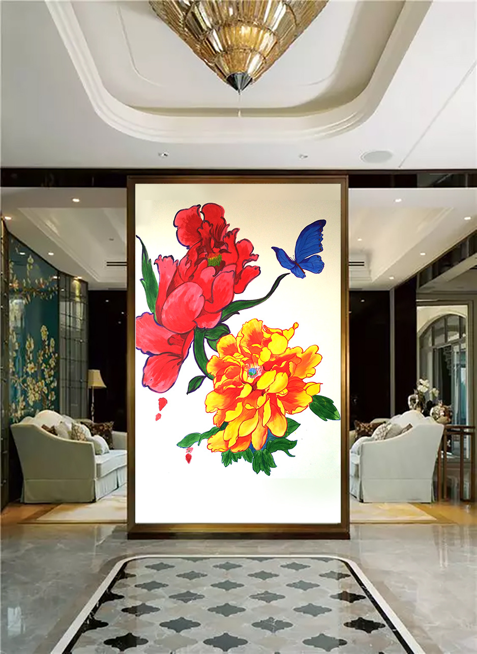 手绘墙画 牡丹与蝴蝶