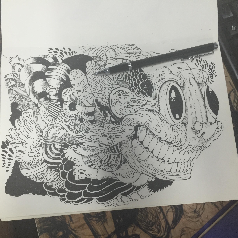黑白手绘练习|插画|涂鸦/潮流|麻凡乐 - 原创作品