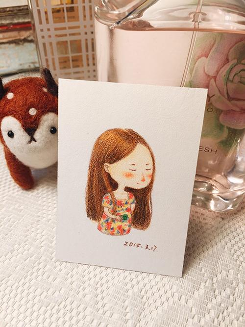 彩铅小人物系列插画7|绘画习作|插画|丁小婧