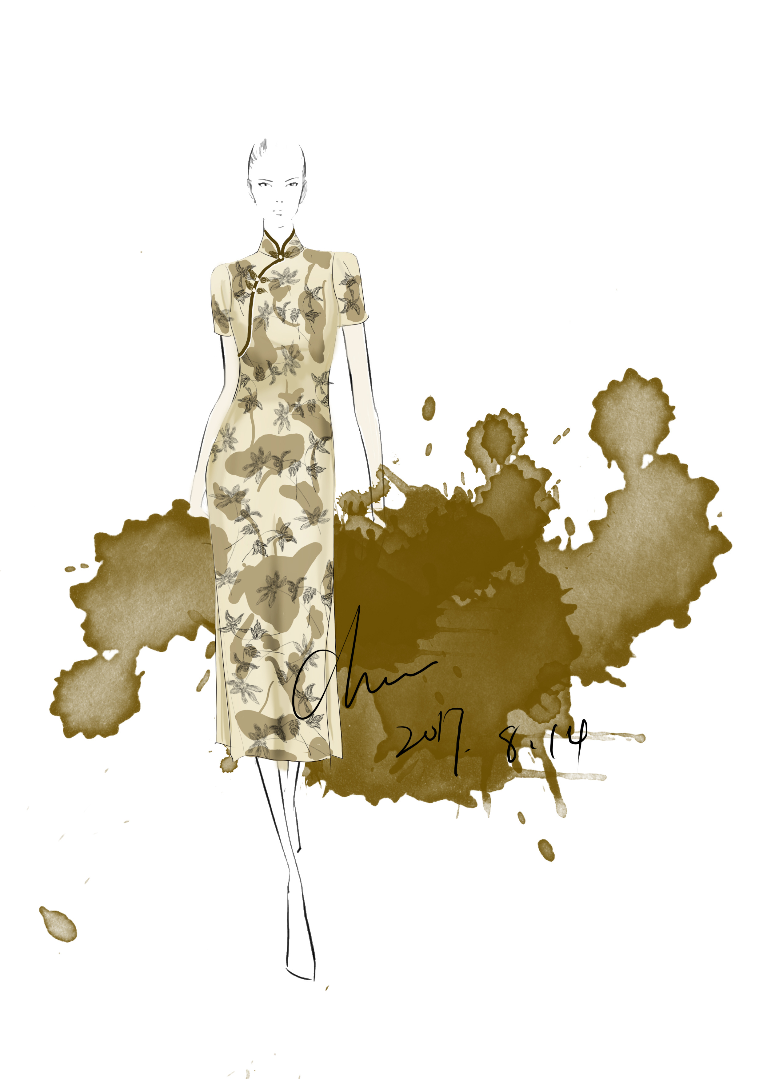 旗袍手绘稿