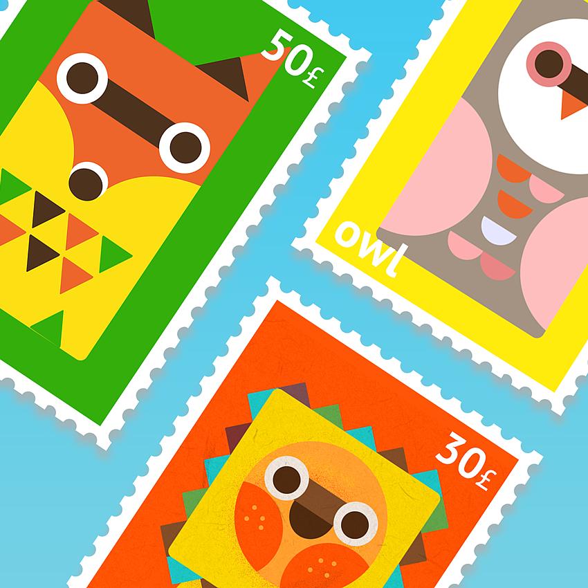 可爱的邮票卡通小动物