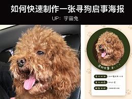 【宇宙兔】如何快速制作一张寻狗启事海报