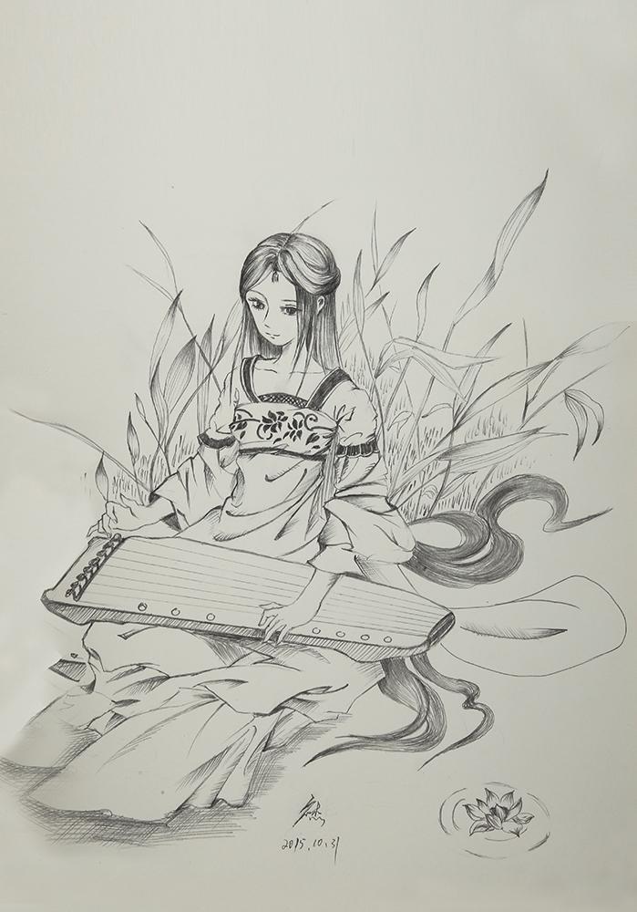 铅笔手绘古风小船