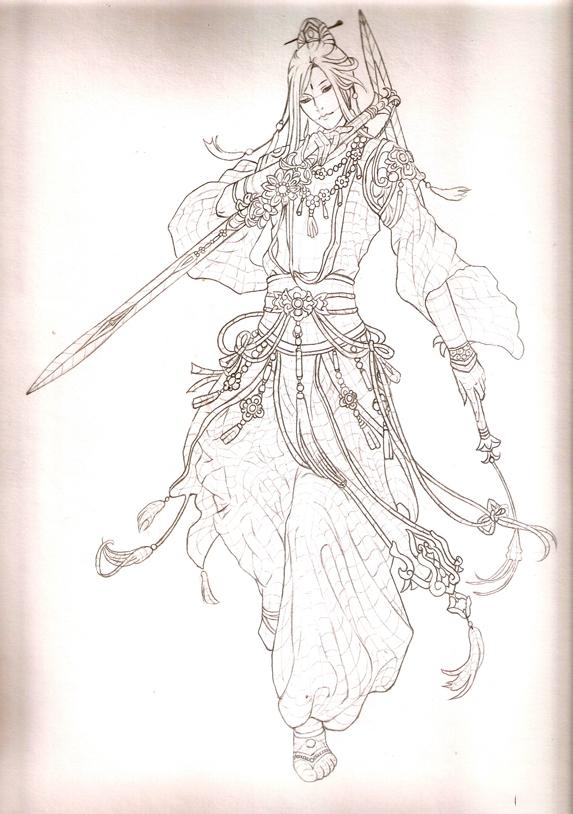 七秀 剑三 线稿