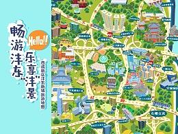 【乐享沣景】矢量卡通风旅游地图简介