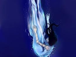 水下人物插画