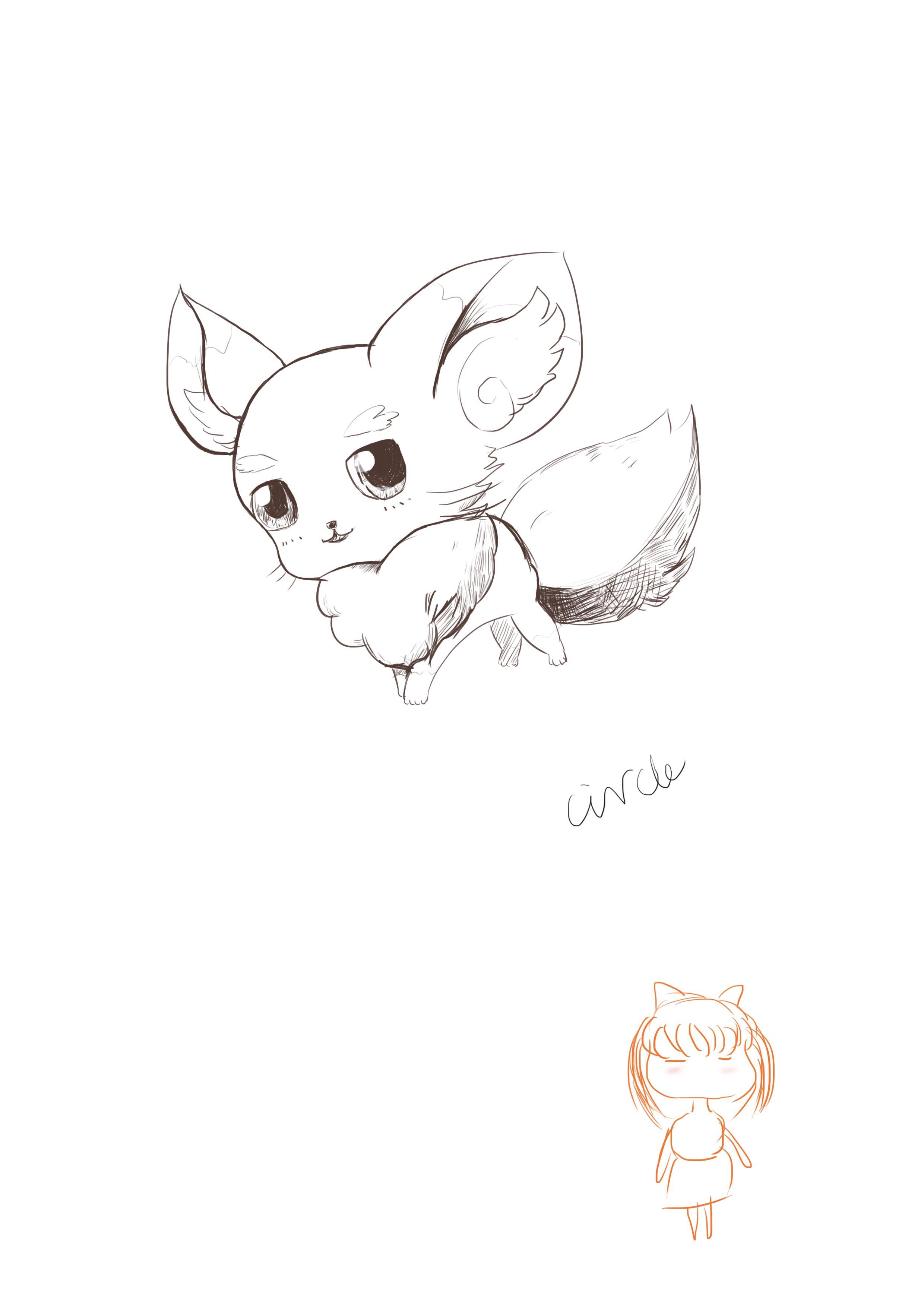 手绘板小狐狸临摹