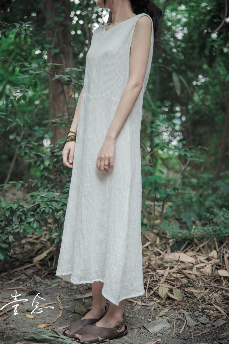 夏装女式纯棉修身复古背心连衣裙