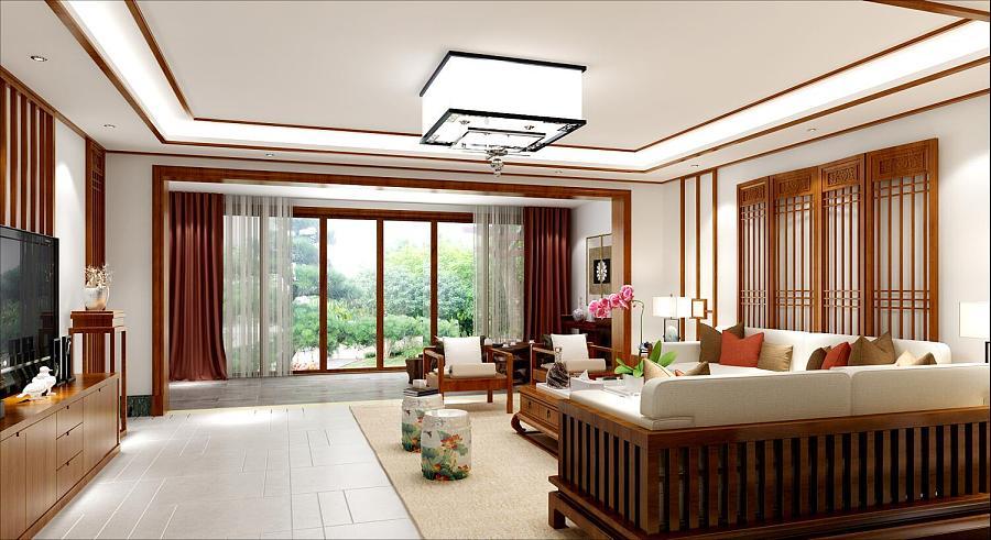 重庆金科太阳海岸别墅装修案例中式风格别墅设三维设计图木工软件图片