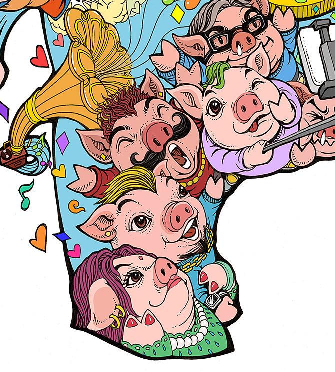 萌猪贺新春创意绘画