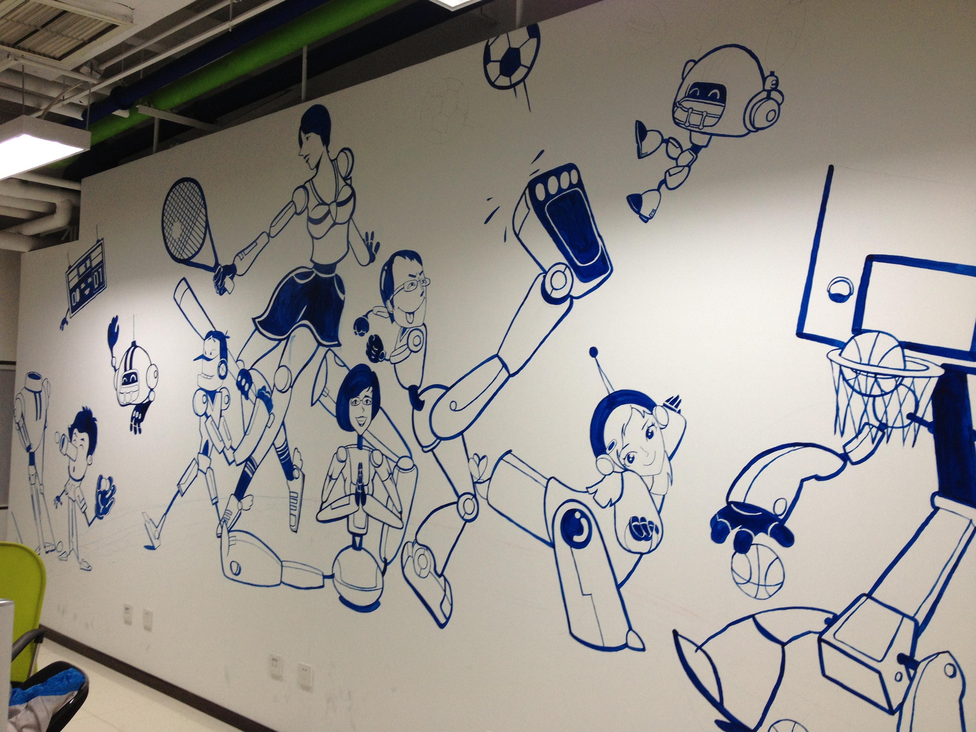 华媒康讯手绘墙|插画|涂鸦/潮流|jzcuj - 原创作品