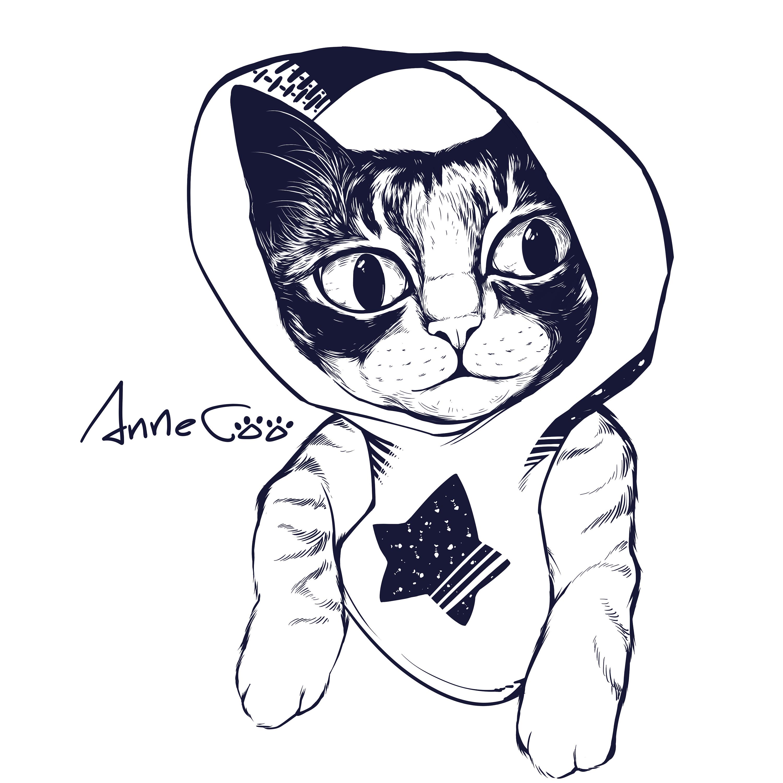 黑白不羁猫t恤图案