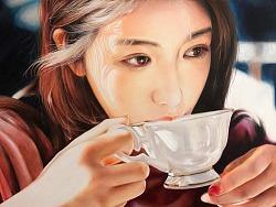 彩铅画《午茶》
