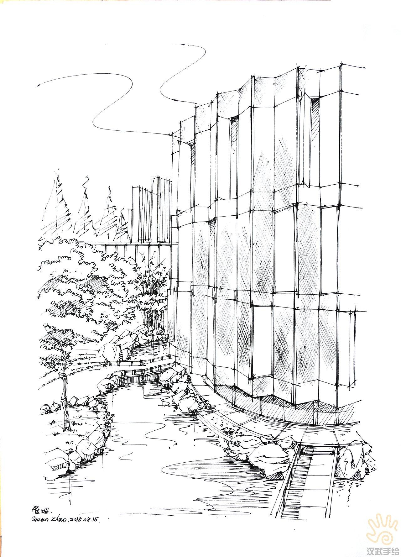平面透视图_环境景观建筑手绘效果图线稿图|空间|景观设计|汉武手绘 - 原创 ...