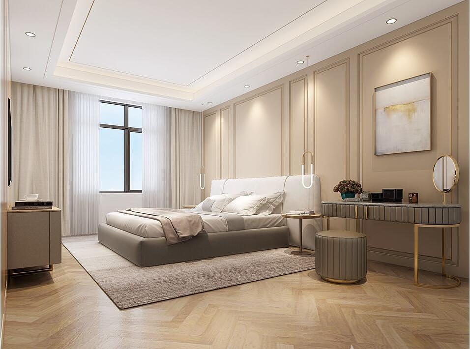 现代*柔和卧室别墅装修效果图