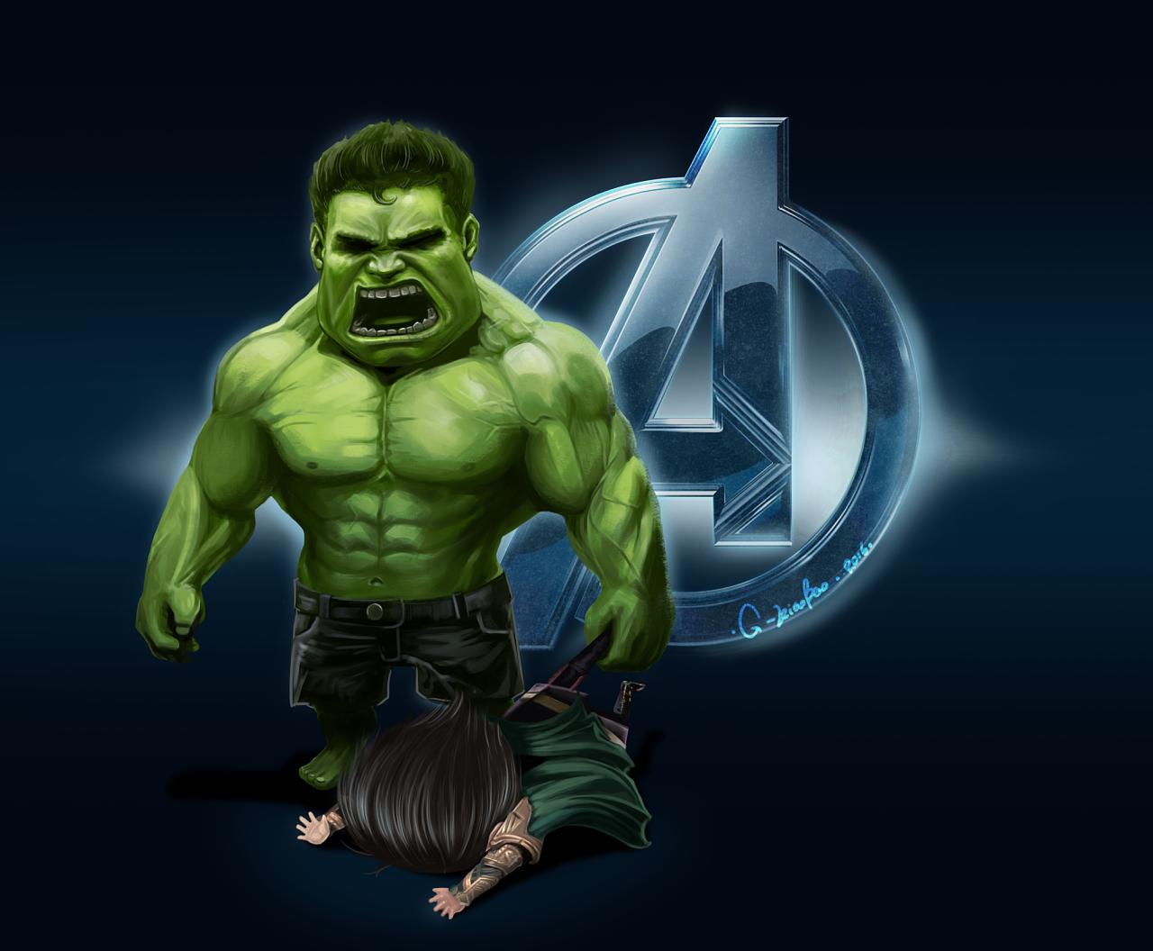 【原创】复仇者联盟q版-绿巨人暴打洛基