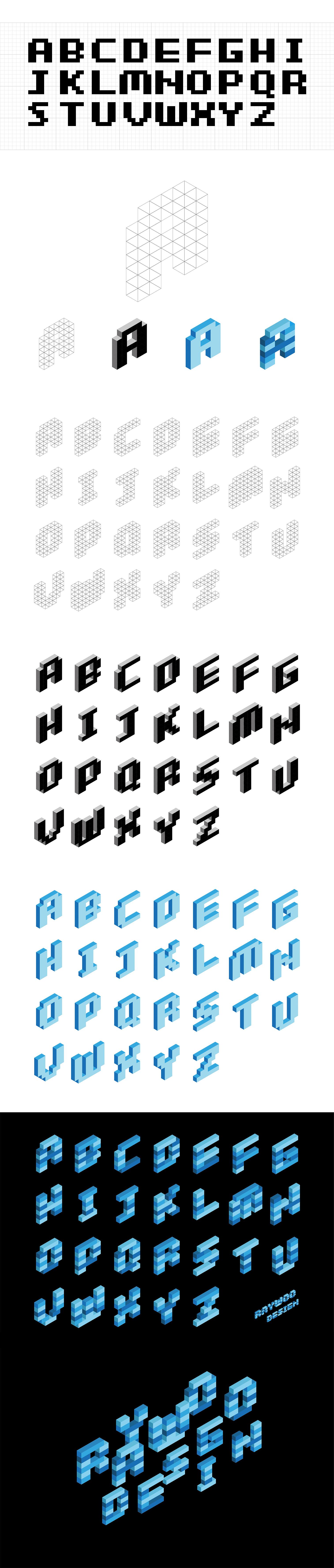 这种风格的立体字体是基于像素风格字体框架的积木英文字体设计,先作出平面的像素字体,在像素字体基础上,用等边三角形网格进行立体效果设计,再加入积木条的概念,将字体做成由长短不一的积木条堆积起来的造型,最后进行颜色配置。