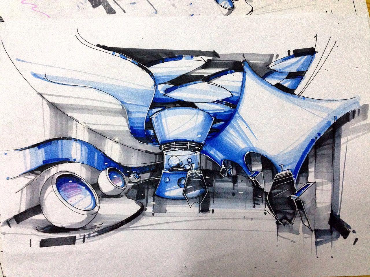 科技馆展厅设计手绘稿