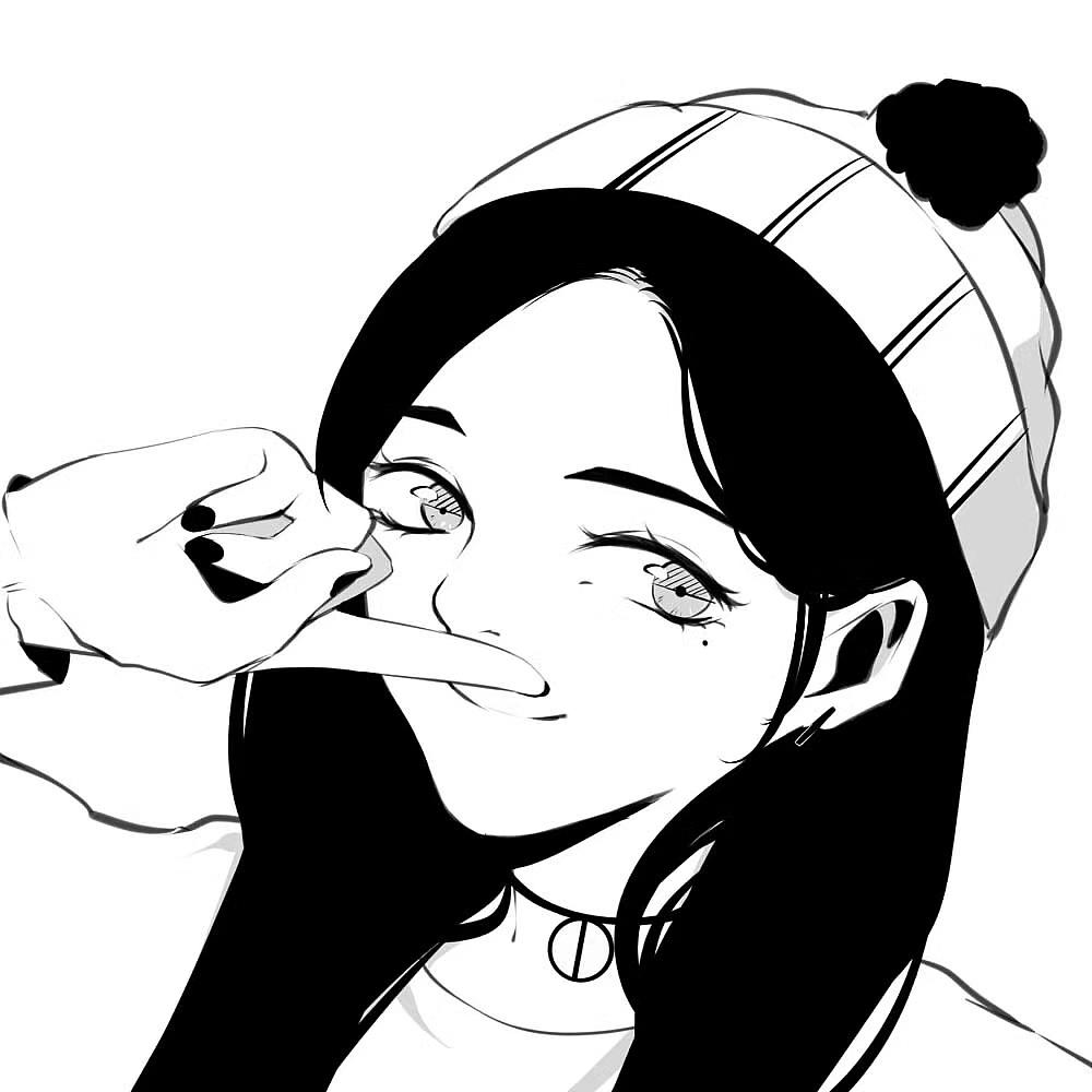 手绘黑白头像|动漫|肖像漫画|小白快到碗里来 - 原创