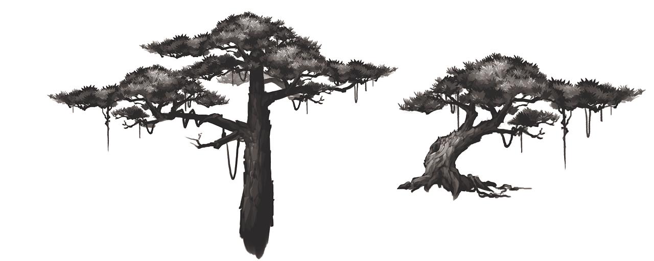 山和松树纹身手稿素材分享展示图片