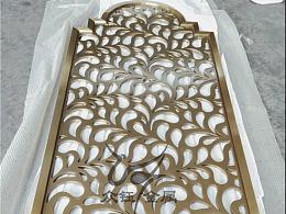 铝板镂空雕刻香槟金花格屏风