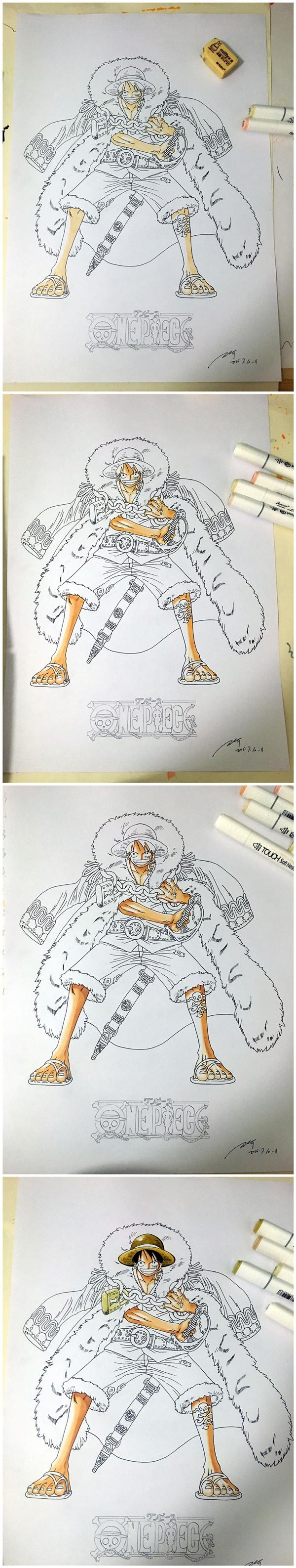 马克笔手绘海贼王蒙奇.d.路飞