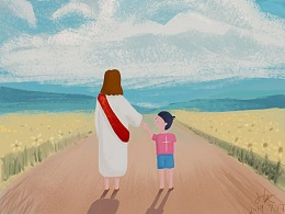 耶稣基督教插画-儿童插画治愈