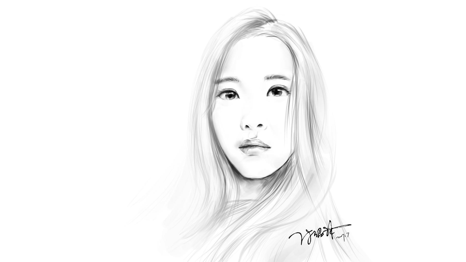 ps手绘素描美女(后期可能上色)|插画|插画习作|f