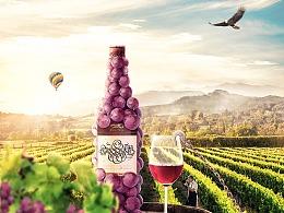葡萄酒创意海报