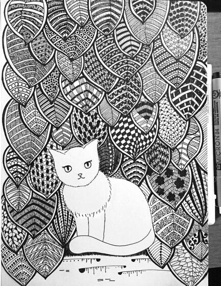 原创手绘线描 夏天的猫