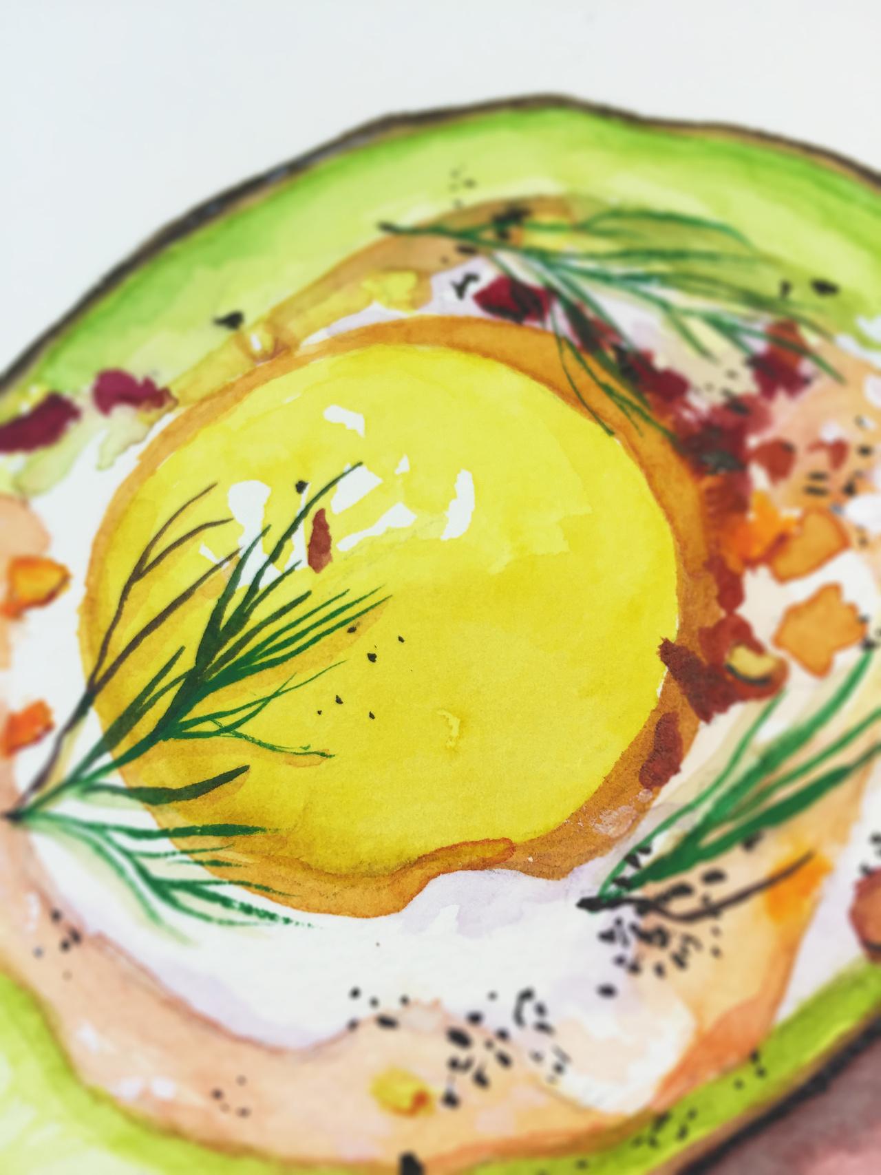 水彩手绘--元气牛油果