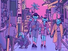 蛙人街道插画系列