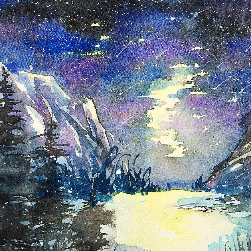 水粉手绘宇宙的星空