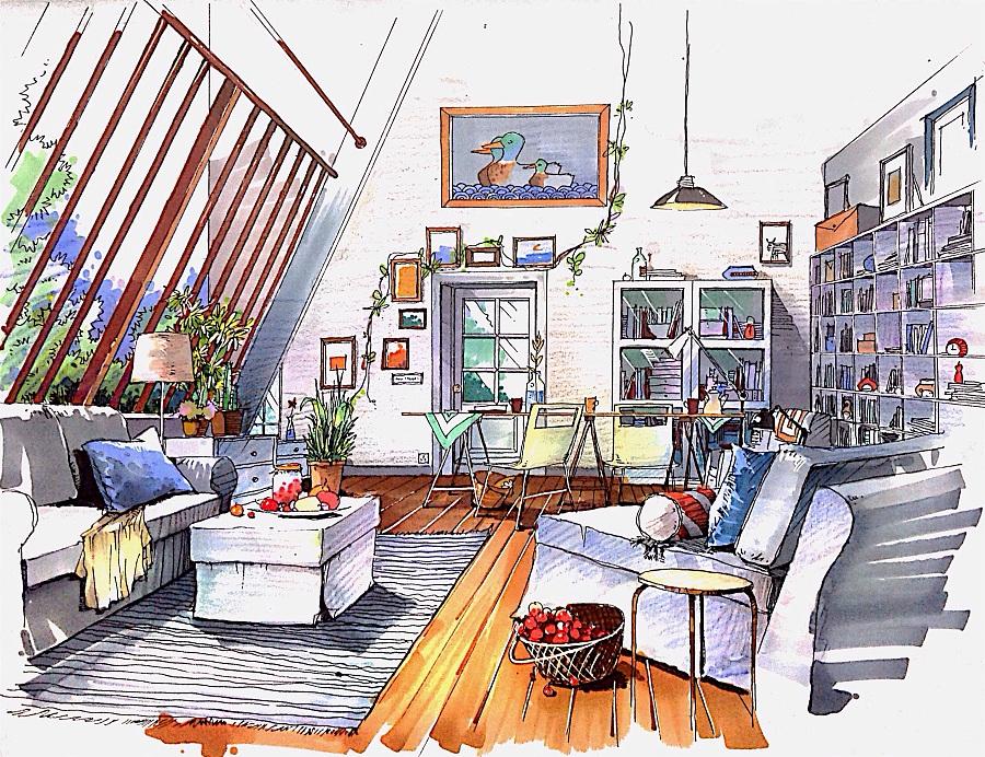 室内手绘效果图|室内设计|空间/建筑|语mow