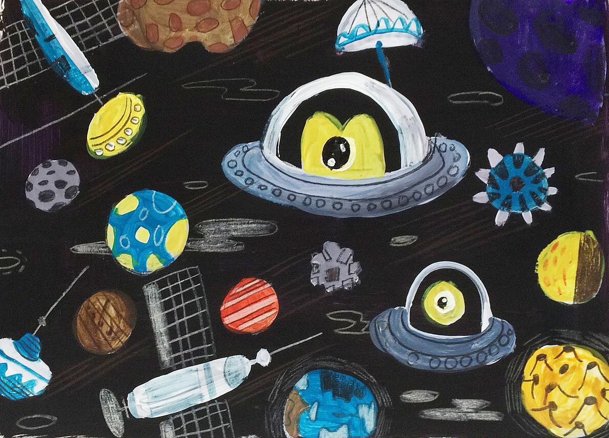 外太空儿童画-周末绘图片