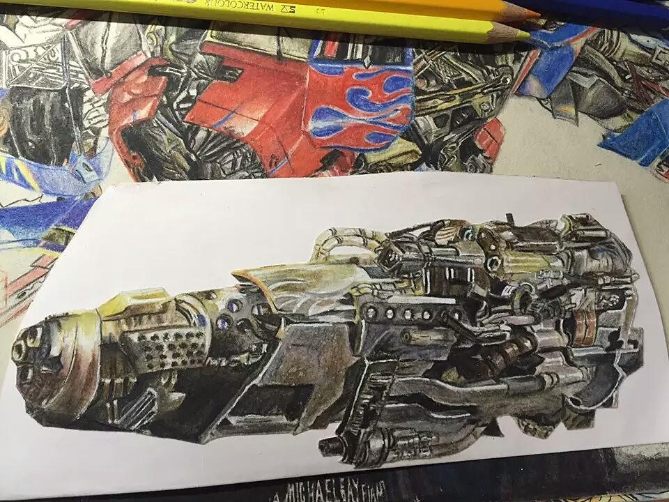 擎天柱水溶彩铅手绘|插画|插画习作|琥珀am - 原创