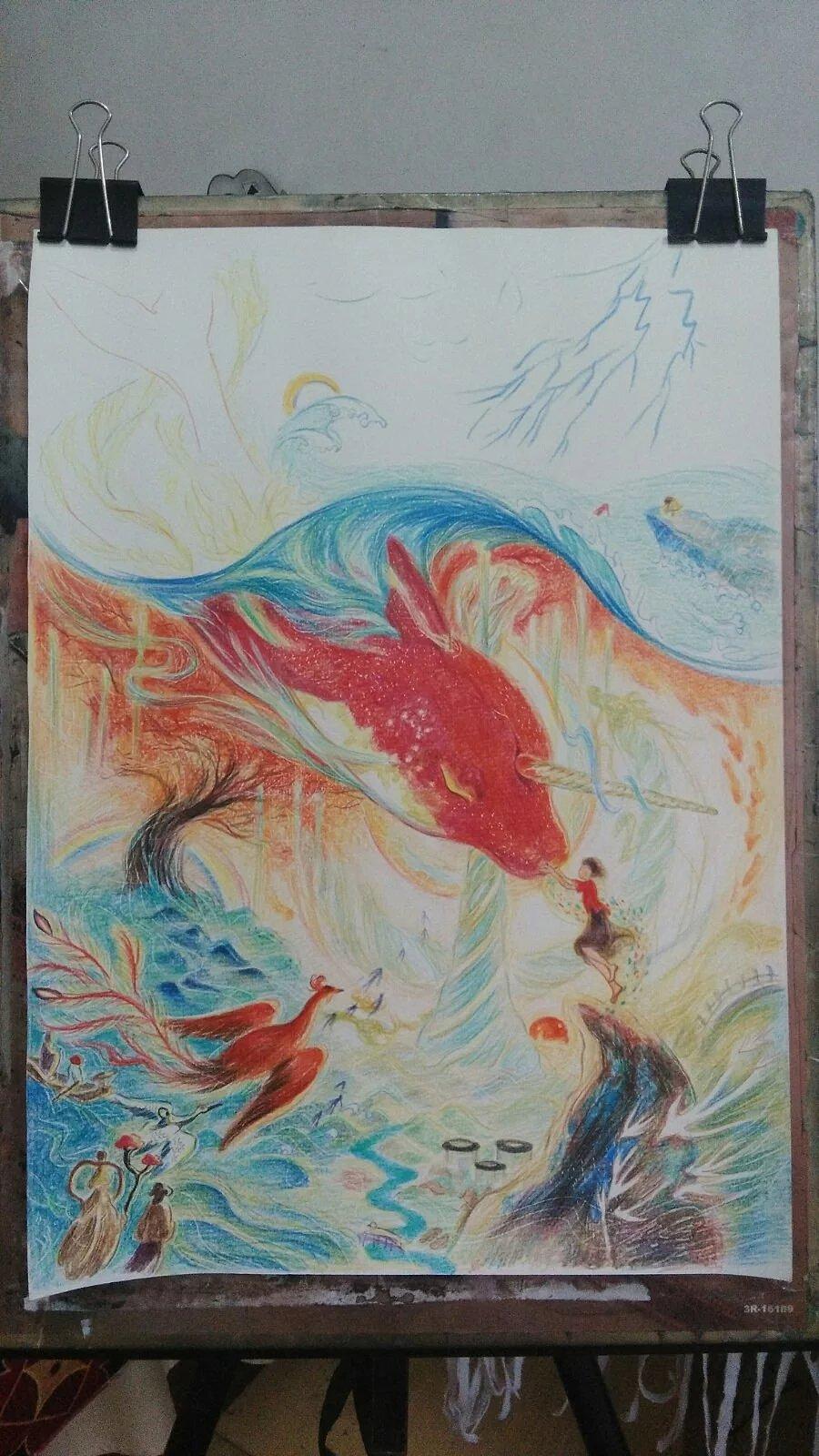 大鱼海棠|纯艺术|彩铅|林策 - 原创作品 - 站酷图片