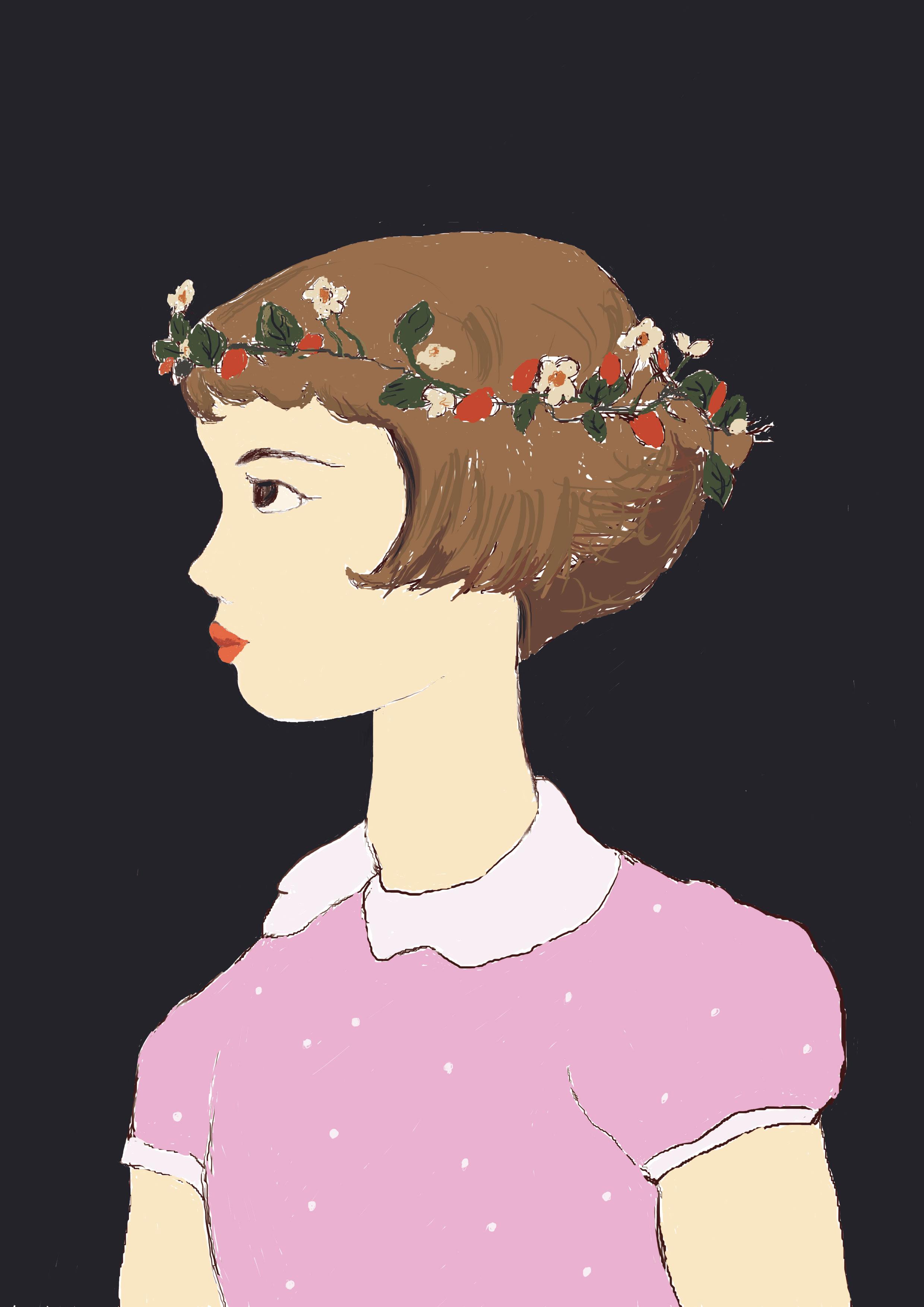带花环的女孩      临摹手绘