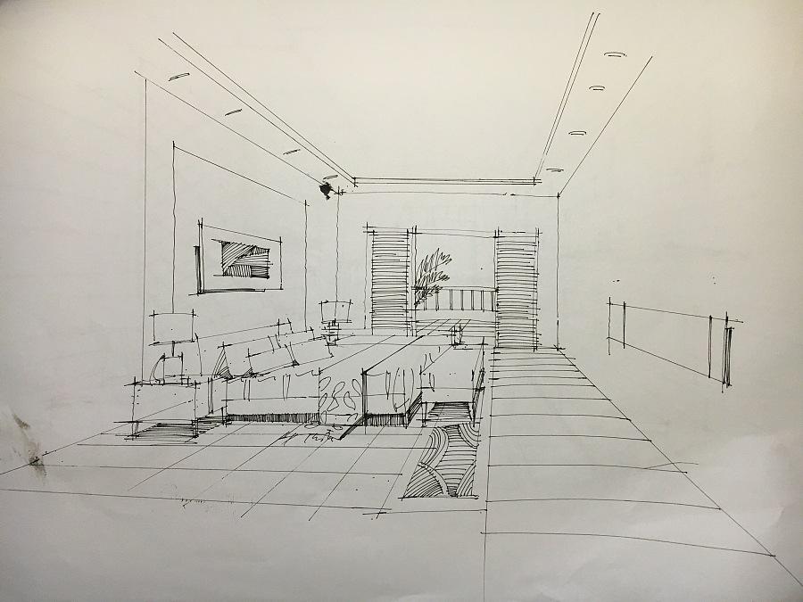 室内手绘线稿|室内设计|空间/建筑|zcl郑