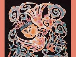 郭秀丽(秀丽中娃)原创国画剪纸版画:乡情故土的浪漫