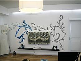 南京手绘墙i-1简装电视背景墙绘图