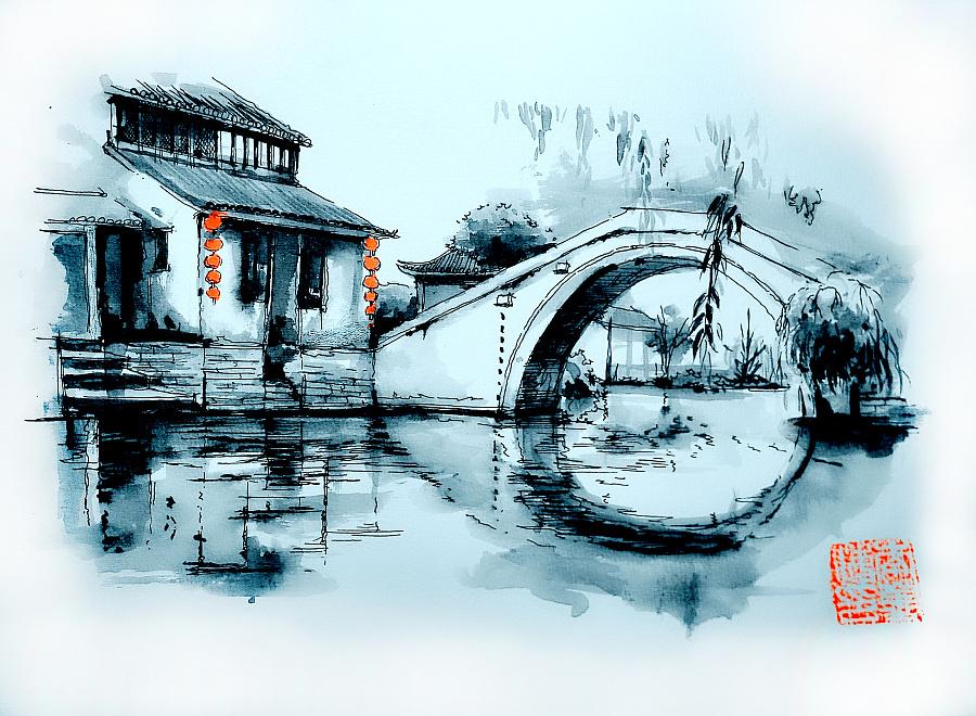 李万海-w-手绘钢笔水墨画《水乡古镇》 插画习作