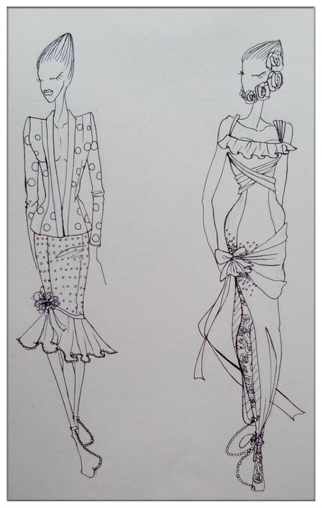 服装效果图手绘微博