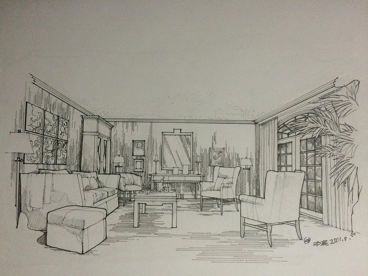 室内手绘|空间|建筑设计|邓超老师 - 原创作品 - 站酷